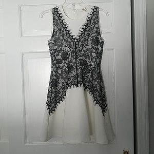 Francesca's White with black lace overlay dress